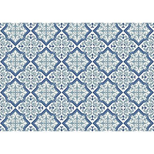 Exclusive Edition Teppich Muster - Blume-Rhombus - Grafik - Blau-Grau