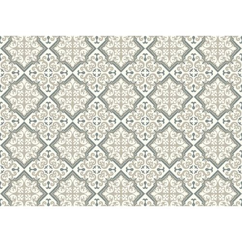 Exclusive Edition Teppich Muster - Blume-Rhombus - Grafik - Grau-Taupe