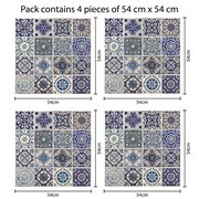 Walplus Wall Mural Decoration Sticker - Spanish Blue Tiles 4 sheets