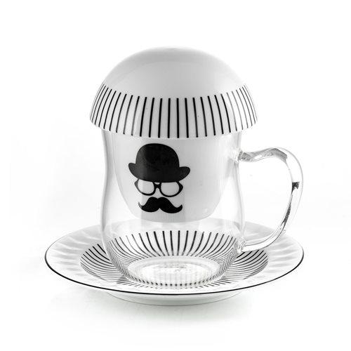 E-my Teeglas Set mit Teefilter - Chapeau