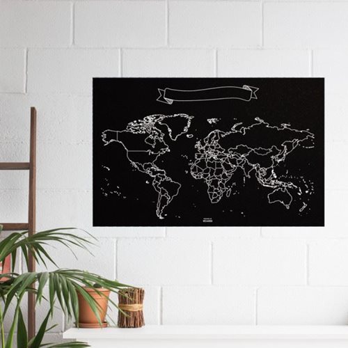 Miss Wood Vinyl Chalkboard World Map XL - 60x90 cm