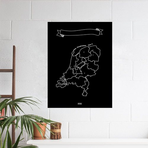 Miss Wood Vinyl Chalkboard Map The Netherlands XL - 60x90 cm