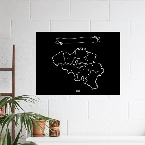 Miss Wood Vinyl Chalkboard Map Belgium XL - 60x90 cm