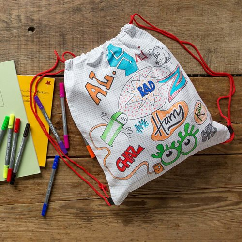 EatSleepDoodle Drawstring Backpack - To Colour