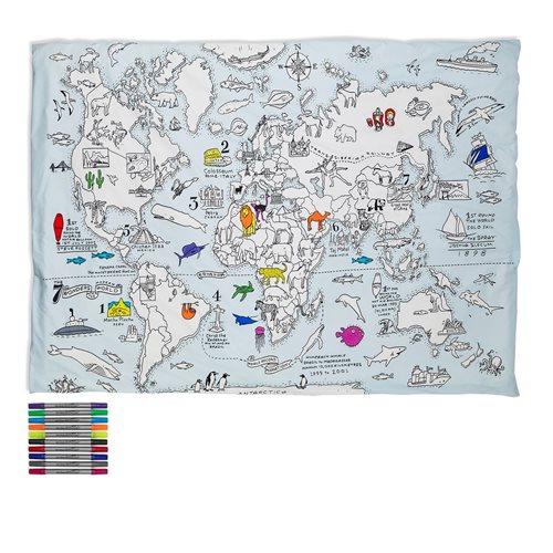 EatSleepDoodle Weltkarte Bettwasche Einzeln - Zum Einfarben