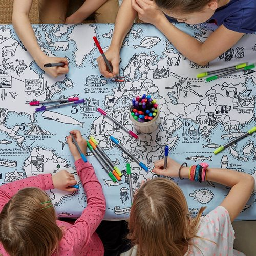 EatSleepDoodle World Map Tablecloth - To Colour