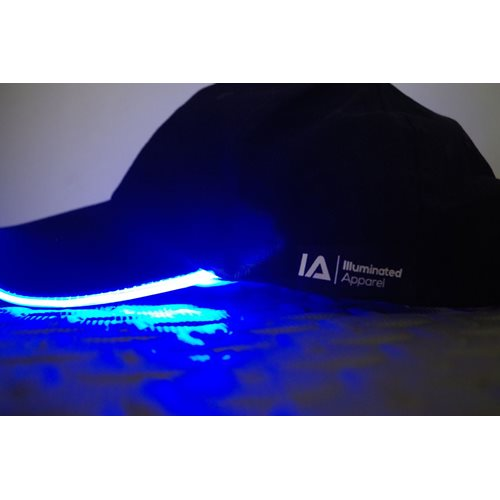 IA LED Light Up Baseball Cap - Black with Blue Light