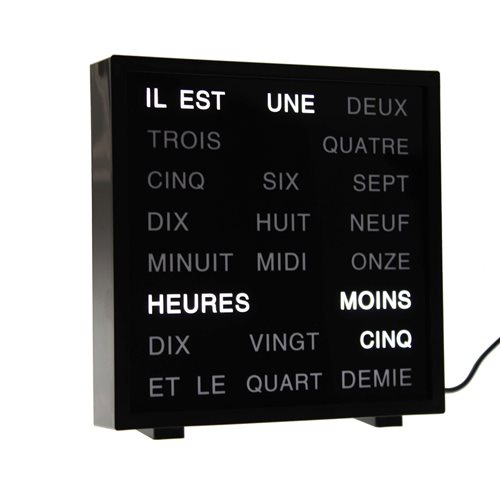United Entertainment LED Word Clock - French 17x16.5 cm