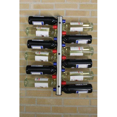 United Entertainment RVS Flessenhouder voor aan de muur – 12 Flessen