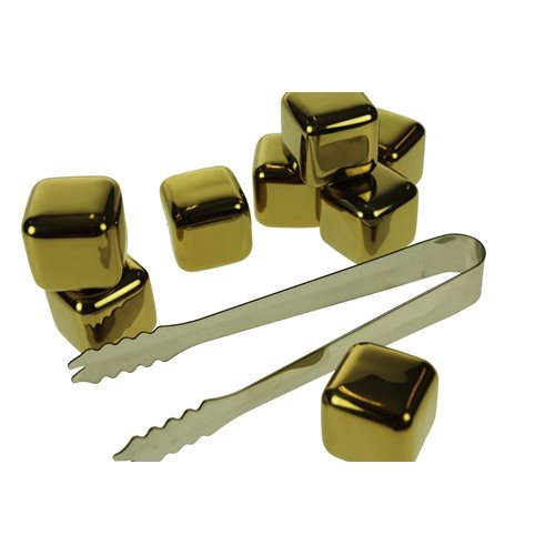 United Entertainment Whisky Stones SS Gold Colour - Set of 8