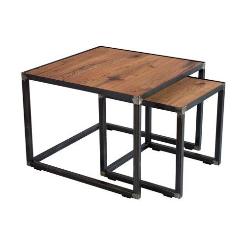 Spinder Design John Couchtisch Set 60x60x46/40x40x40 - Schmiedeeisern/Eiche