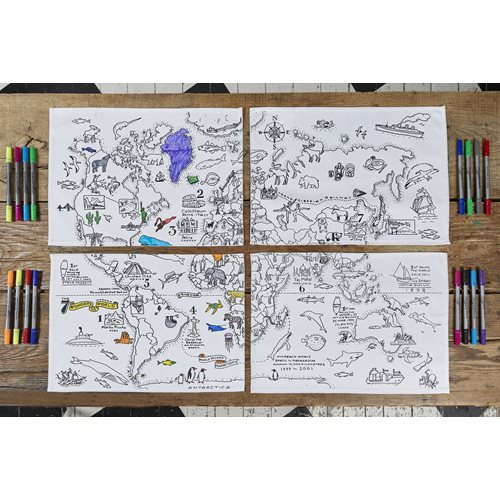 EatSleepDoodle World Map Placemats Set of 4 - To Colour