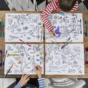 EatSleepDoodle Placemats Wereldkaart Set van 4 - Om in te kleuren
