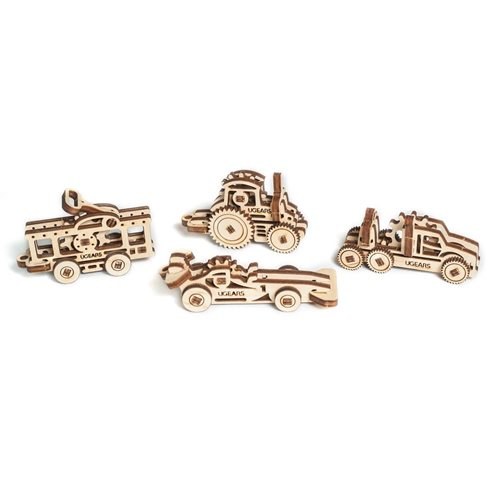 Ugears Wooden U-Fidget Key Chains - 4 Vehicles