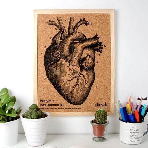 Milimetrado - Anatomisches Herz Pinnwand - mit Holzrahmen - Naturel/Schwarz - 40x30 cm