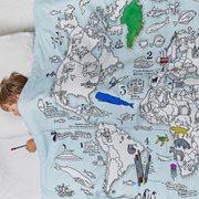 EatSleepDoodle Dekbedovertrek Enkel Wereldkaart - Om in te kleuren