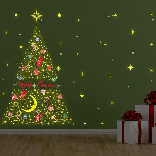 Walplus Glow in the Dark Dekoration Wandaufkleber - Frohe Weihnachten Baum
