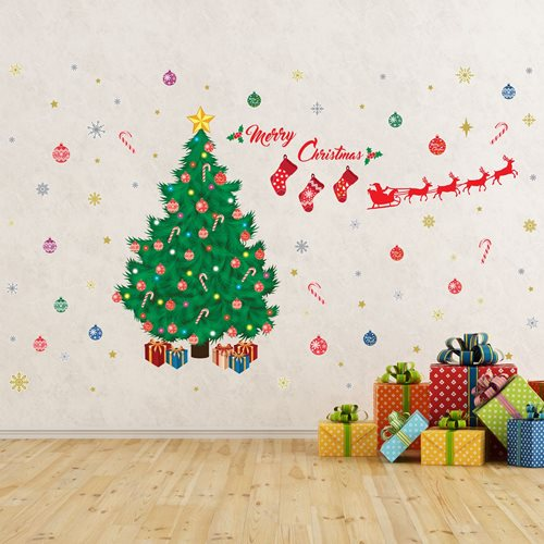 Walplus Home Decoration Sticker - Traditional Christmas Tree Decoration Set