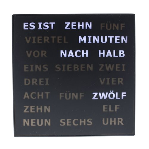 United Entertainment LED Buchstabenuhr - Deutsch 28x28 cm