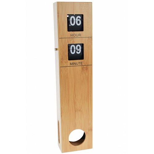 United Entertainment Bamboo Retro Flip Down Clock with Pendulum
