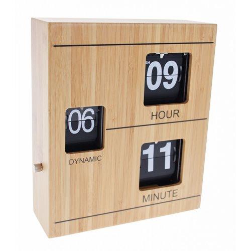 United Entertainment Bamboo Retro Flip Down Desk Clock