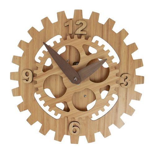 United Entertainment Bamboo Motion Gear Wall Clock