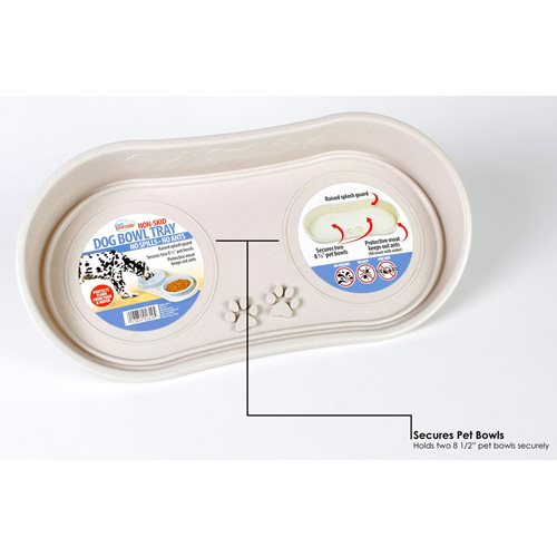 Pet Parade Non-Skid Pet Bowl Tray for 2 Bowls