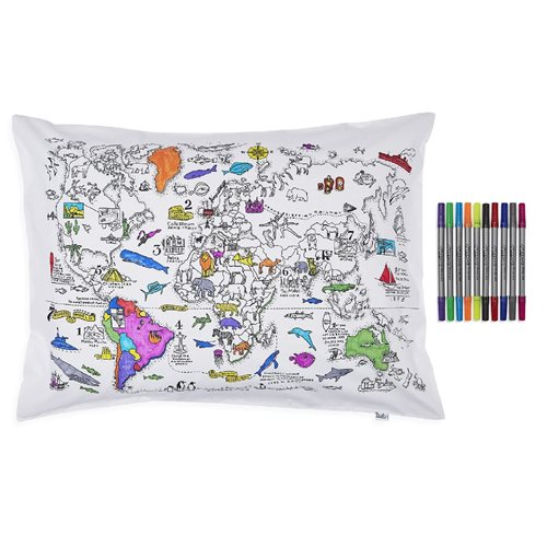 EatSleepDoodle Color & Learn Weltkarte Kissenbezug - Zum Einfarben