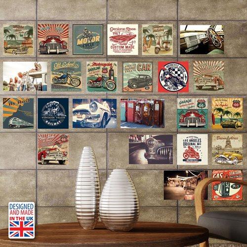 Walplus Wall Mural Decoration Sticker - HD Vintage Vehicle Collage Mural
