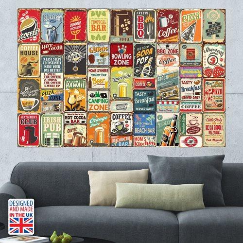 Walplus Muur Decoratie Sticker - Metalen Borden Collage Muursticker