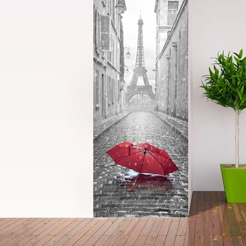 Walplus Door Decoration Sticker - Eiffel Tower Umbrella