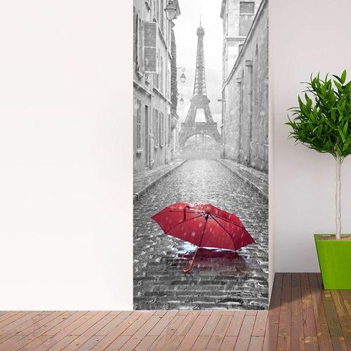 Walplus Tür Dekoration Aufkleber - Eiffelturm Regenschirm