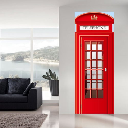 Walplus Door Decoration Sticker - UK Telephone Booth