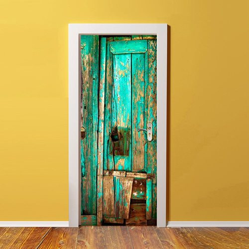 Walplus Door Decoration Sticker - Vintage Timber