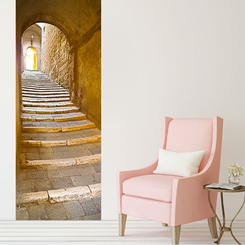 Walplus Door Decoration Sticker - Stone Stairway