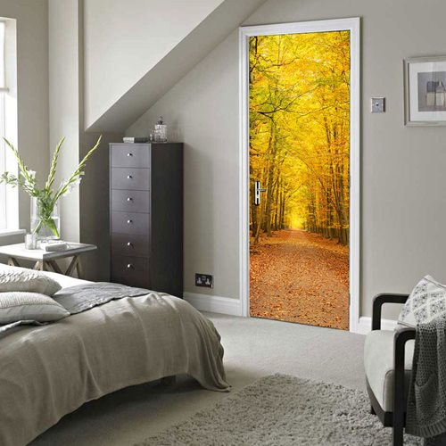 Walplus Door Decoration Sticker - Deciduous leaves