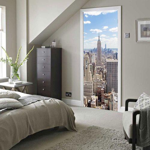 Walplus Tür Dekoration Aufkleber - Manhattan-Ansicht