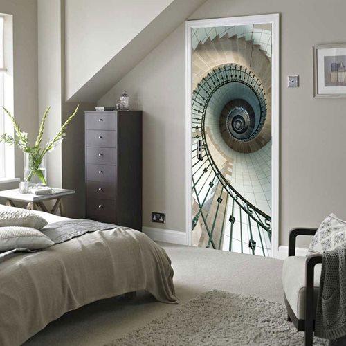 Walplus Door Decoration Sticker - Spiral Stairs