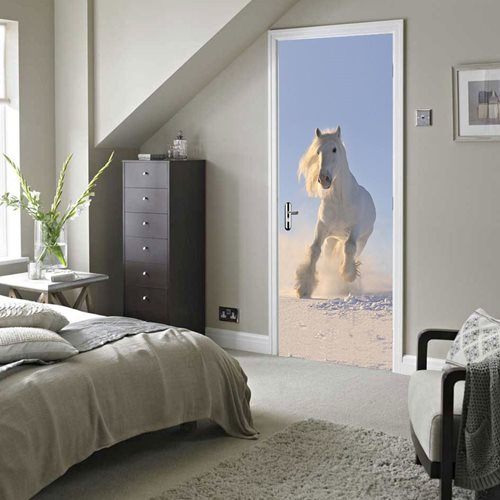 Walplus Door Decoration Sticker - White Horse
