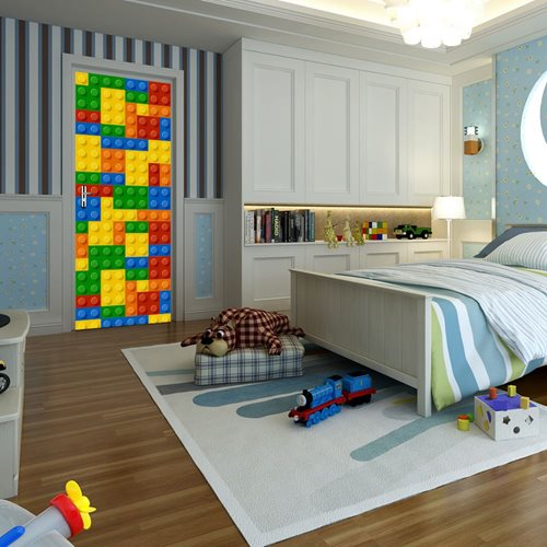 Walplus Door Decoration Sticker - Building Blocks