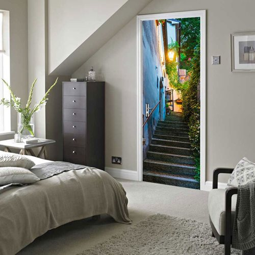 Walplus Door Decoration Sticker - Alleyway Stairs