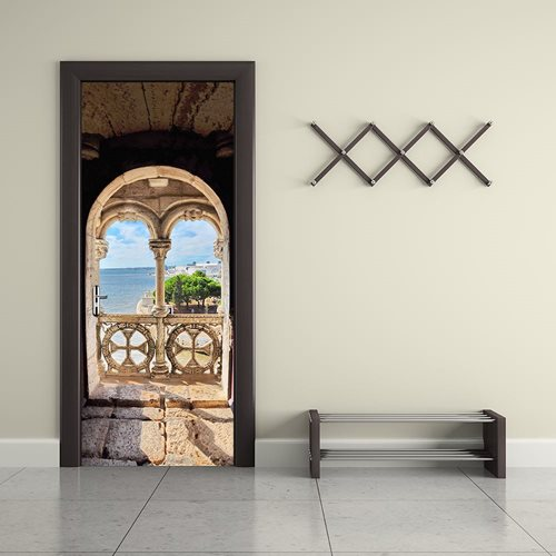 Walplus Door Decoration Sticker - Island Balcony View