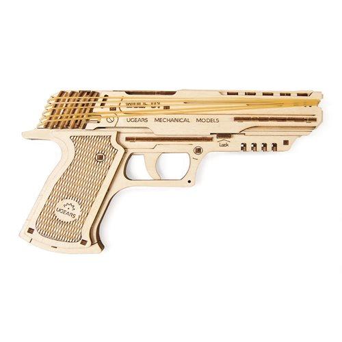 Ugears Houten Modelbouw - Wolf-01 Houten Handpistool met Elastiekjes