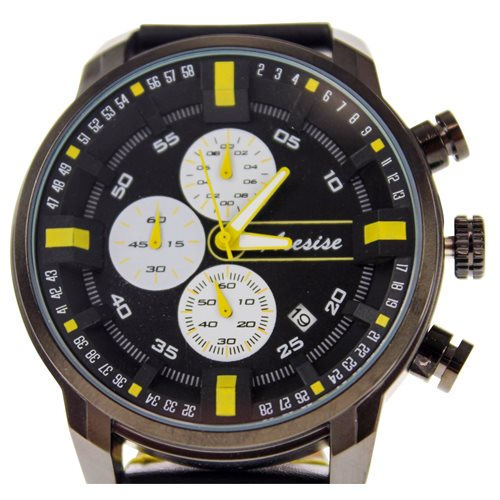 United Entertainment Sport Watch - Waterproof - with Calendar - Black/Yellow