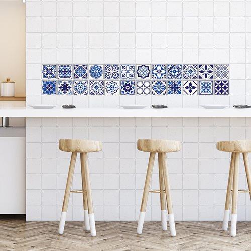 Walplus Spanish and Moroccan Mosaic - Wall Sticker/Tile Sticker - Blue - 10x10 cm - 24 pieces