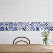 Walplus Spaans en Marokkaans Mozaiek - Muursticker/Tegelsticker - Blauw - 10x10 cm - 24 stuks