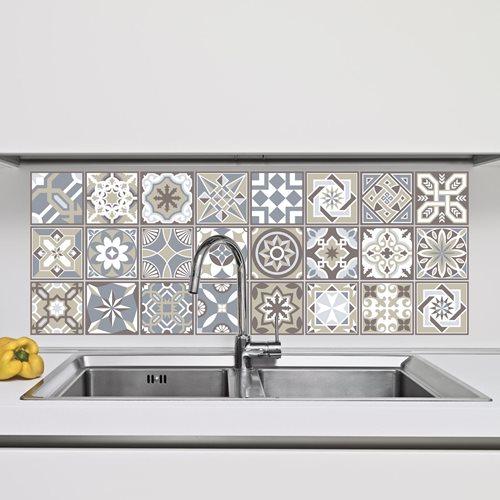 Walplus Spanischer Kalkstein - Wandaufkleber/Fliesenaufkleber - 10x10 cm - 24 Stücke