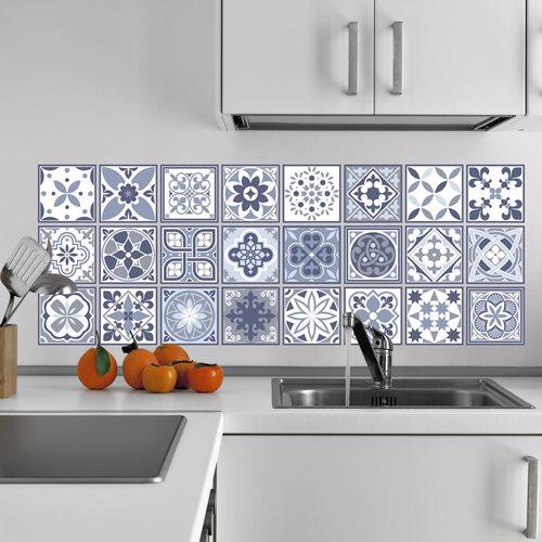 Walplus Lisbon - Wall Sticker/Tile Sticker - Blue - 10x10 cm - 24 pieces