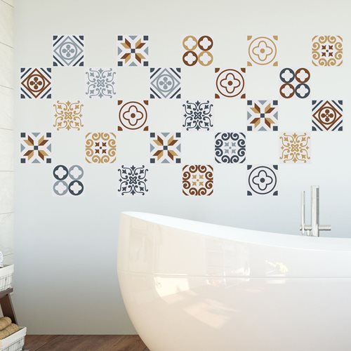 Walplus Azulejo - Wall Sticker/Tile Sticker - 10x10 cm - 24 pieces