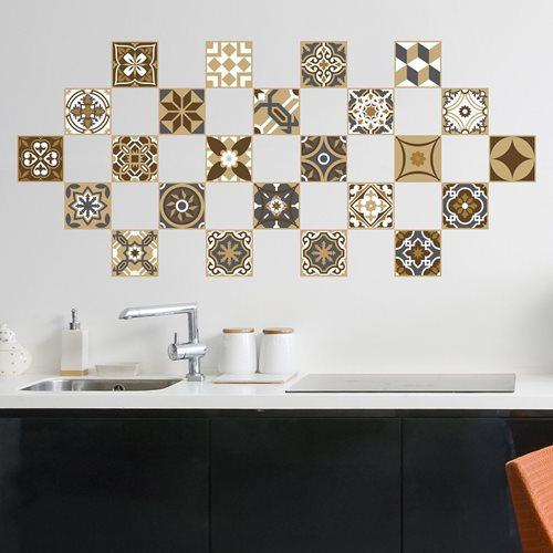 Walplus Dunkle Bronze Mosaik - Wandaufkleber/Fliesenaufkleber - Bronze - 10x10 cm - 24 Stücke